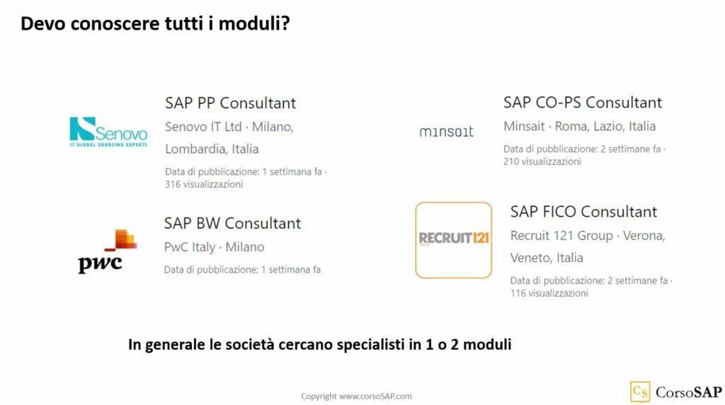 Esempi di moduli SAP richiesti nelle offerte di lavoro