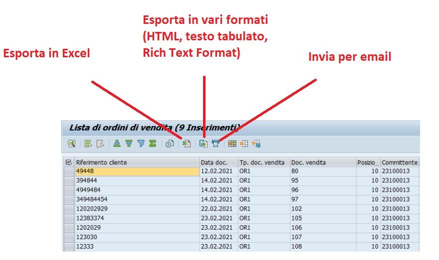 Come esportare le liste ALV da SAP a xls, HTML ed altri formati